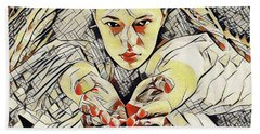 4448s-ab The Succubus Comes For You Erotica In The Style Of Kandinsky Beach Towel