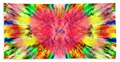 Beach Towel featuring the mixed media 444 Loves Vibration by Barbara Tristan