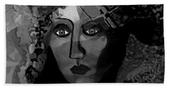 Beach Towel featuring the digital art 455 - Dark Dreamer by Irmgard Schoendorf Welch