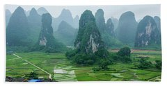 The Beautiful Karst Rural Scenery In Spring Beach Towel