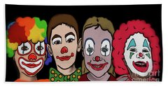 Beach Towel featuring the digital art 4happy Clowns by Megan Dirsa-DuBois