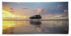 4wd Vehicle And Stunning Sunset Reflections On Beach Beach Towel