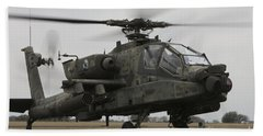 Ah-64 Apache Helicopter On The Runway Beach Towel
