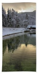 Beach Towel featuring the photograph Alpine Winter Reflections by Ian Middleton