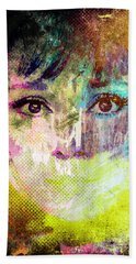 Beach Towel featuring the mixed media Audrey Hepburn by Svelby Art