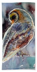 Barn Owl Beach Towel by Kovacs Anna Brigitta