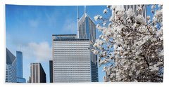 Beach Towel featuring the photograph Chicago Bean Millenium Park by Jim DeLillo