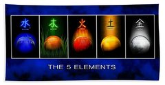 Beach Towel featuring the digital art Asian Art 5 Elements Of Tcm by John Wills