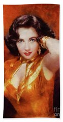 Elizabeth Taylor Hollywood Actress Beach Towel