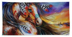 5 Feathers Indian War Horse Beach Towel