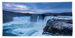 Godafoss Waterfall In Iceland Beach Sheet