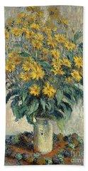 Jerusalem Artichoke Flowers Beach Sheet by Claude Monet
