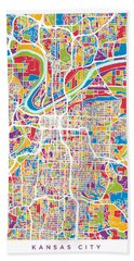 Kansas City Missouri City Map Beach Towel