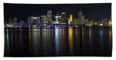 Miami Downtown Skyline Beach Towel by Raul Rodriguez