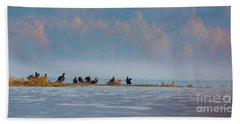 Beach Towel featuring the photograph One Autumn Day At Ognyanovo Dam by Jivko Nakev