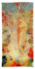 Beach Sheet featuring the painting Pandora by Odilon Redon