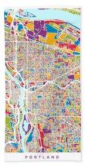 Portland Oregon City Map Beach Towel