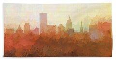 Beach Towel featuring the digital art Providence Rhode Island Skyline by Marlene Watson