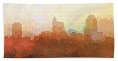 Beach Sheet featuring the digital art Raleigh North Carolina Skyline by Marlene Watson