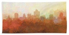 Beach Towel featuring the digital art Salt Lake City Utah Skyline by Marlene Watson