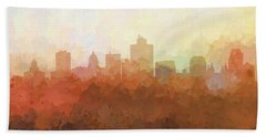 Beach Sheet featuring the digital art Salt Lake City Utah Skyline by Marlene Watson