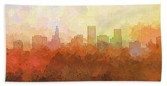 Beach Sheet featuring the digital art St Paul Minnesota Skyline by Marlene Watson