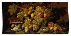 Still Life With Fruit Beach Towel by Severin Roesen