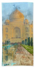 Taj Mahal In Agra India Beach Towel