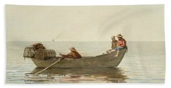 Three Boys In A Dory With Lobster Pots Beach Towel