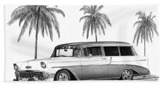56 Chevy Wagon Beach Towel