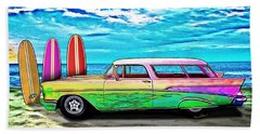 57 Chevy Nomad Wagon Best Part Of Waking Up Beach Sheet