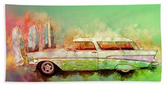 57 Chevy Nomad Wagon Blowing Beach Sand Beach Towel