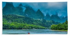 Karst Mountains And Lijiang River Scenery Beach Sheet