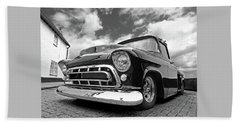 57 Stepside Chevy In Black And White Beach Sheet
