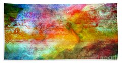 5a Abstract Expressionism Digital Painting Beach Towel