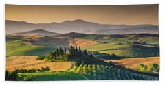 A Morning In Tuscany Beach Towel by JR Photography
