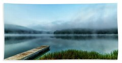 Autumn Mist On Lake Beach Towel