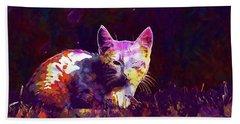 Beach Sheet featuring the digital art Cat Eye Injury One Eye Village  by PixBreak Art