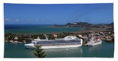 Beach Sheet featuring the photograph Cruise Ship In Port by Gary Wonning