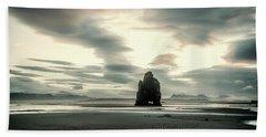Dinosaur Rock Beach In Iceland Beach Sheet by Joe Belanger