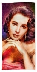 Elizabeth Taylor, Vintage Hollywood Legend Beach Towel by John Springfield