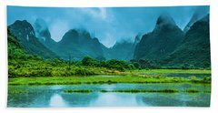 Karst Rural Scenery In Raining Beach Towel