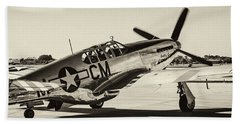 P51 Mustang Beach Towel by Chris Smith