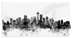 Seattle Washington Skyline Beach Sheet by Michael Tompsett