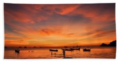 Sunrise On Koh Tao Island In Thailand Beach Towel