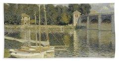 The Argenteuil Bridge Beach Towel by Claude Monet