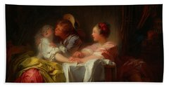 Beach Towel featuring the painting The Stolen Kiss by Jean-Honore Fragonard