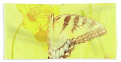 Tiger Swallowtail Butterfly On Cosmos Flower Beach Towel