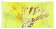 Tiger Swallowtail Butterfly On Cosmos Flower Beach Sheet