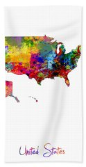 United States Watercolor Map Beach Towel